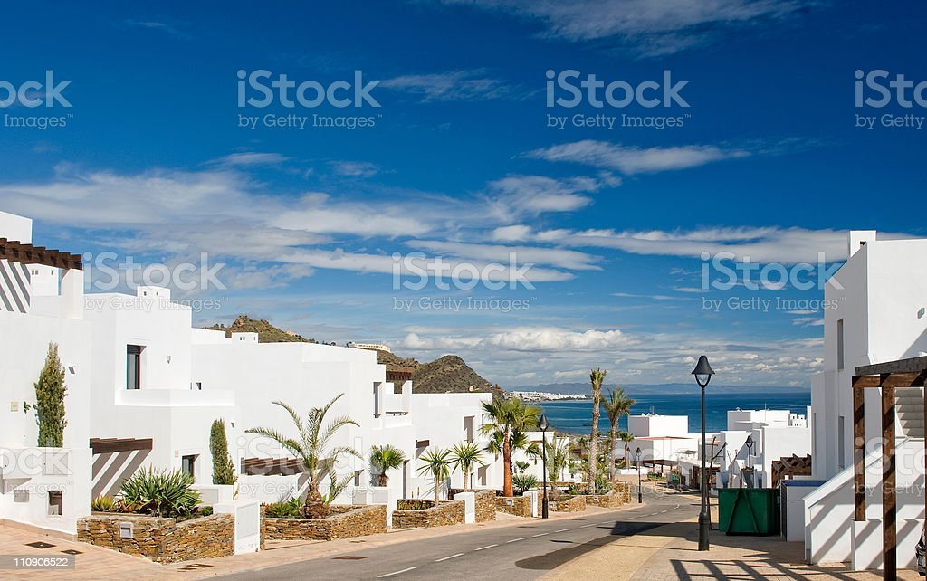 View of Mojacar from Macanas stock photo