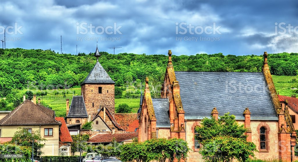 View of Molsheim, a town in the Vosges - France stock photo