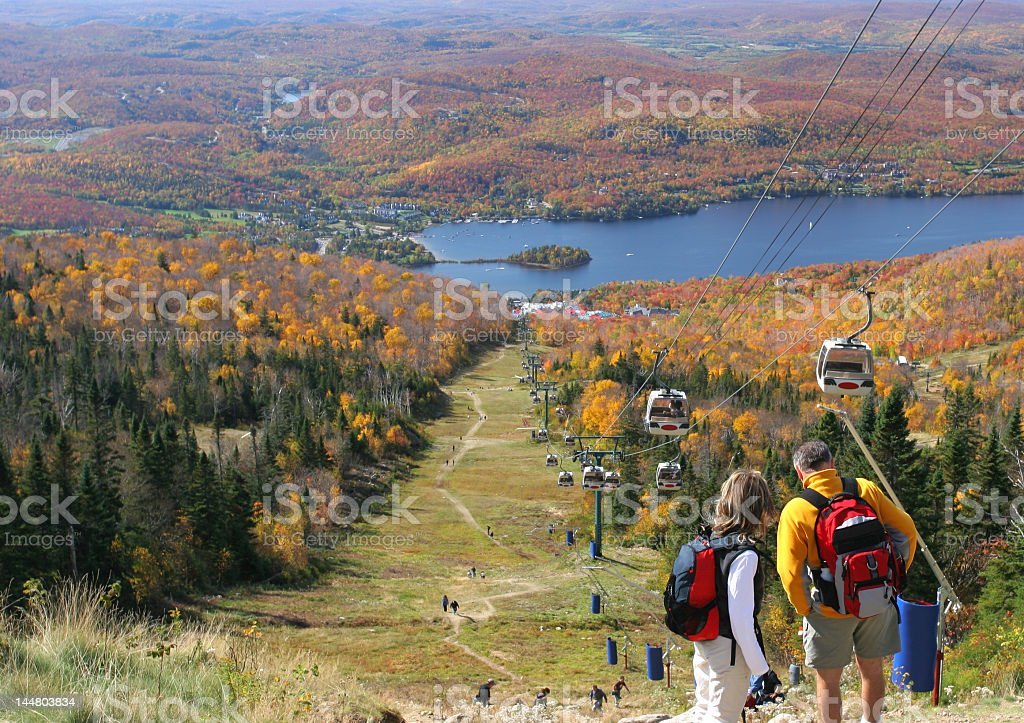 View of Mont Tremblant and cable cars during autumn stock photo
