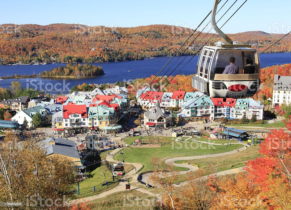 View of Mont Tremblant Lake Village, Quebec, Canada in fall stock photo