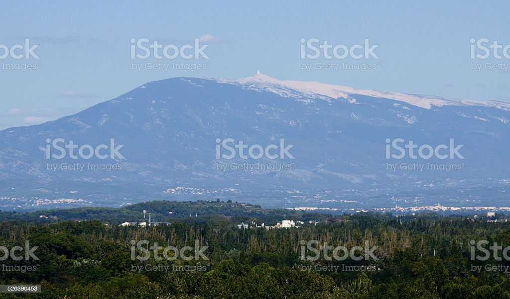 View of Mont Ventoux from Avignon stock photo