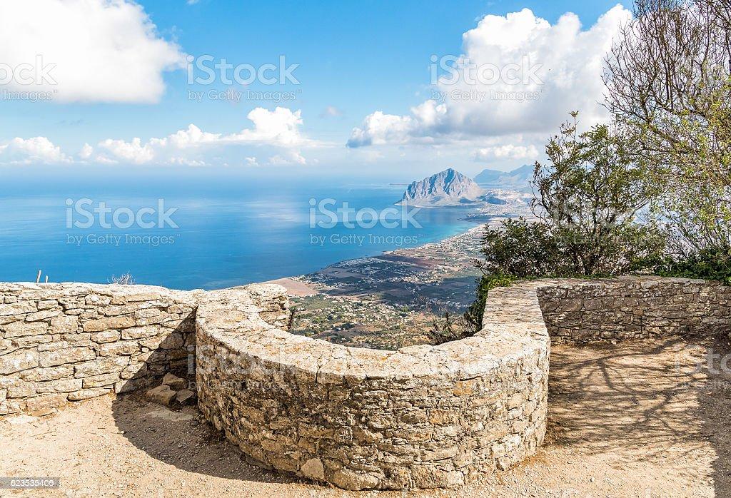 View of Monte Cofano from Erice, Sicily, Italy stock photo