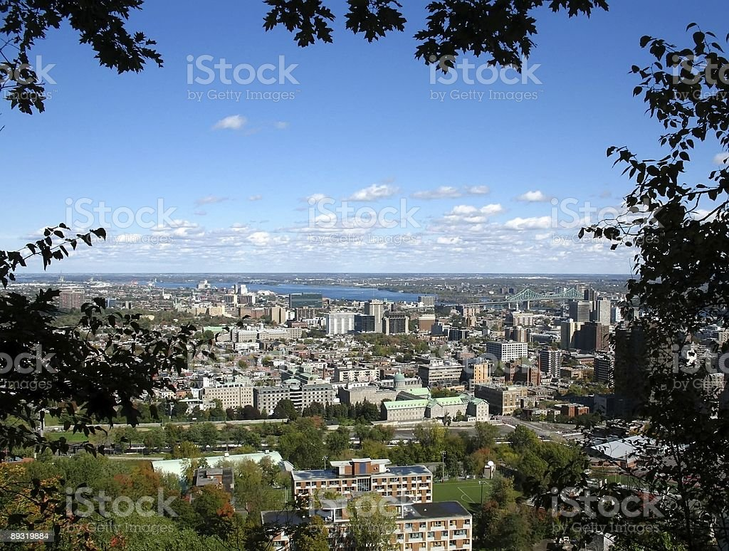 View of Montreal from Mont-Royal through trees stock photo