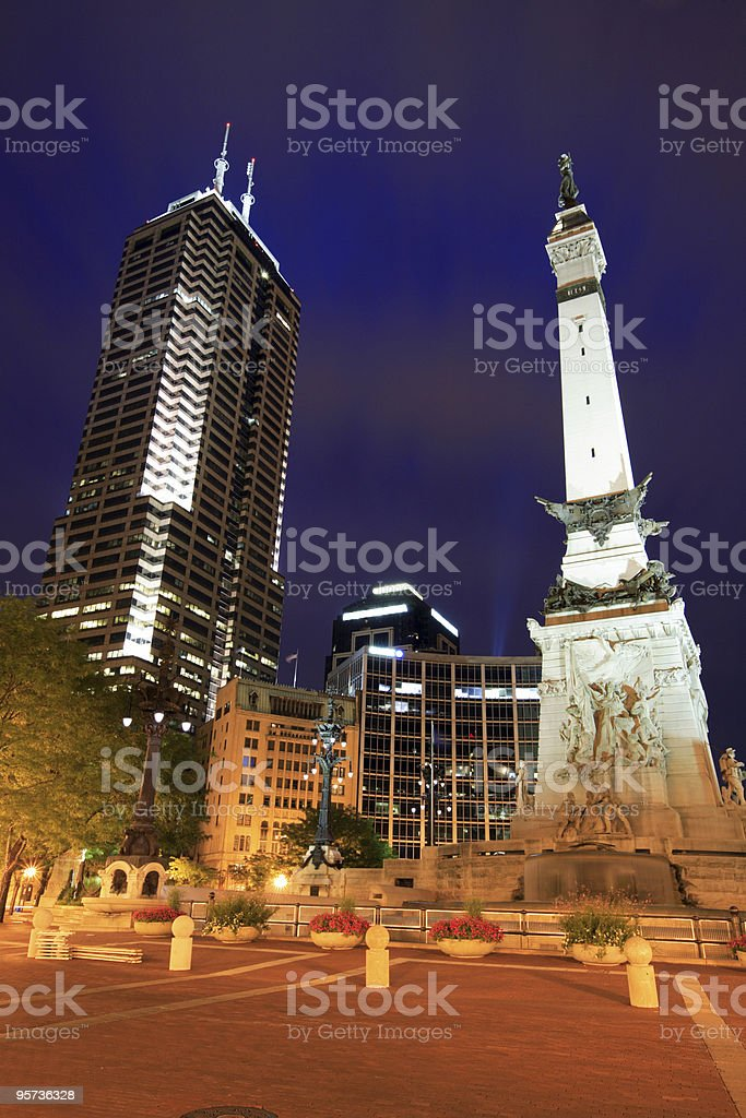 View of Monument Circle in Indianapolis, Indiana stock photo