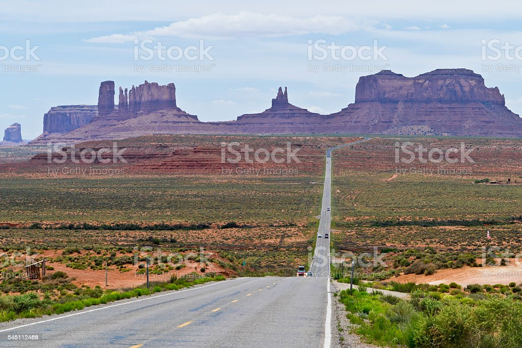 View of Monument Valley an  Highway 163  in Utah stock photo