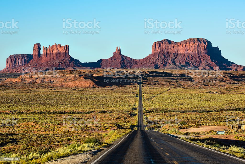 View of Monument Valley canyons with Road in Arizona stock photo