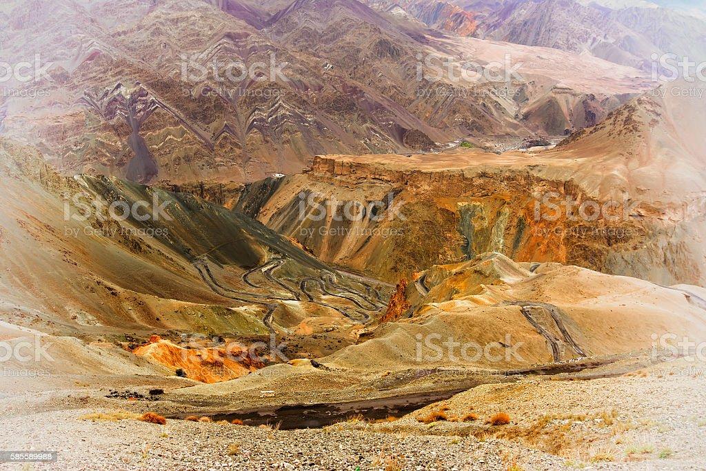 View of Moonland, Lamayuru, Ladakh, Jammu and Kashmir, India stock photo