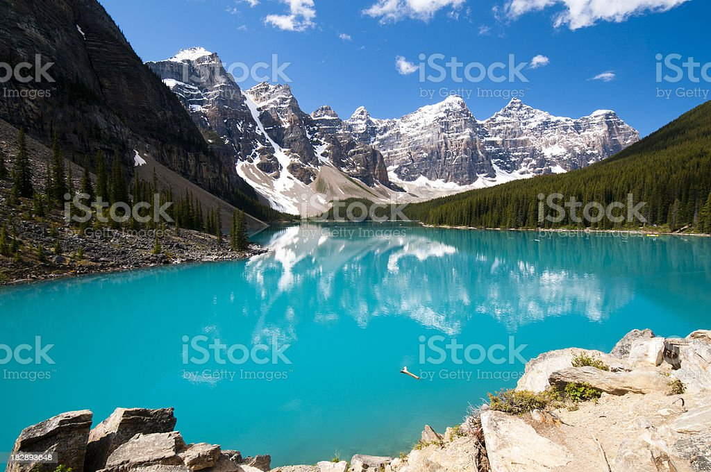 View of Moraine Lake in summer royalty-free stock photo