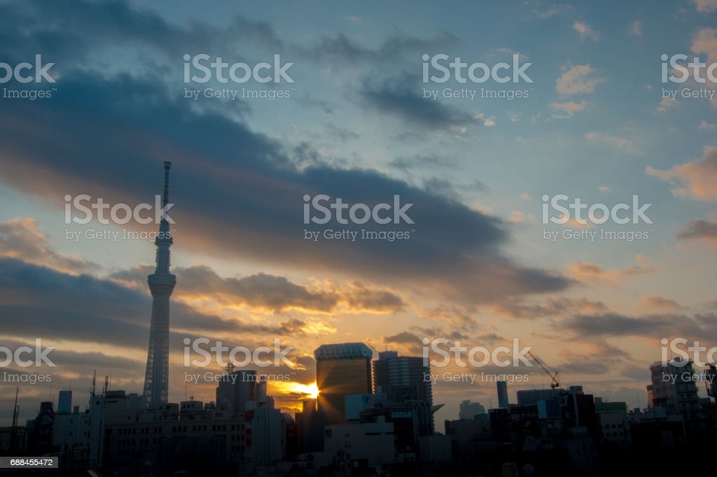 View of morning light at Asakusa district Tokyo, Japan. sky view see tokyo sky tree and modern office building. stock photo