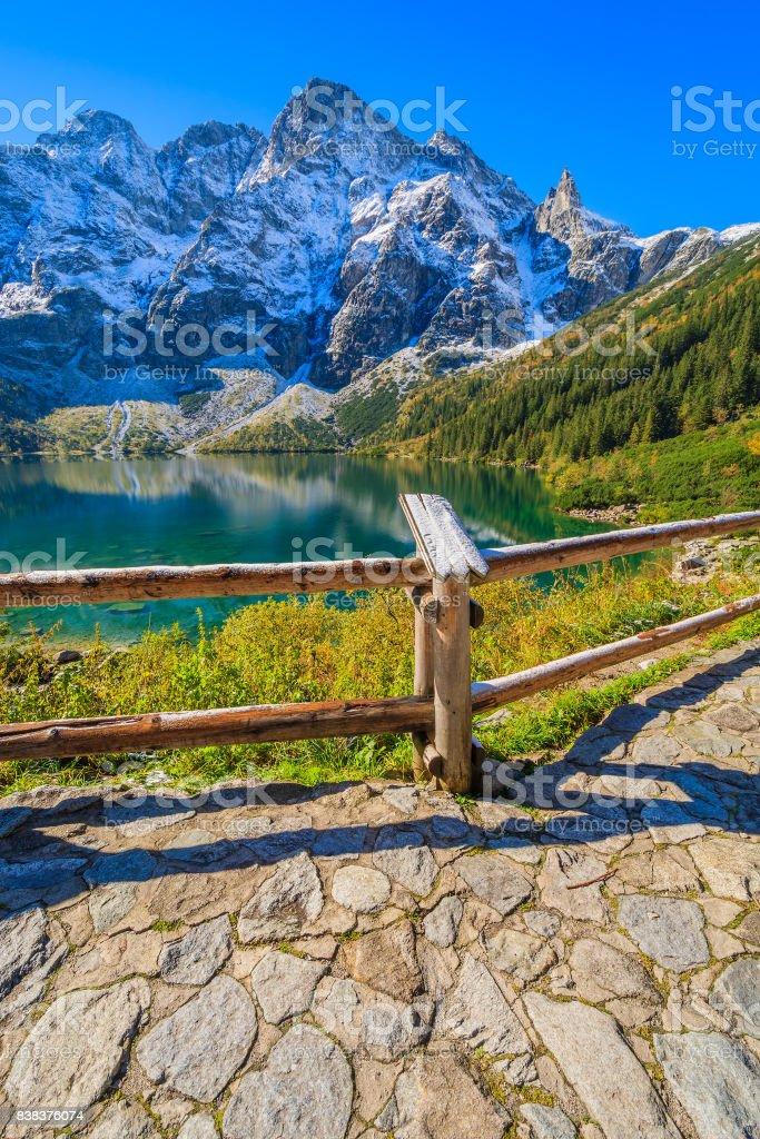 View of Morskie Oko lake in autumn season, Tatra Mountains, Poland stock photo