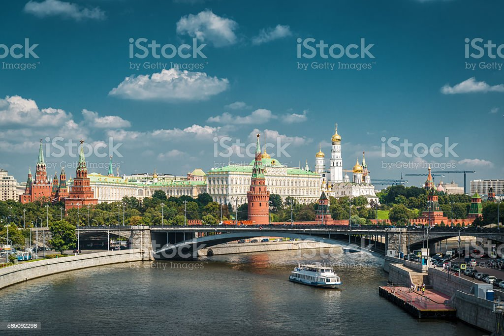 View of Moscow Kremlin and Moskva River stock photo