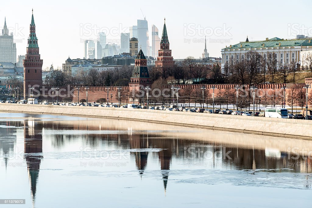 View of  Moscow Kremlin from  river, Russia stock photo