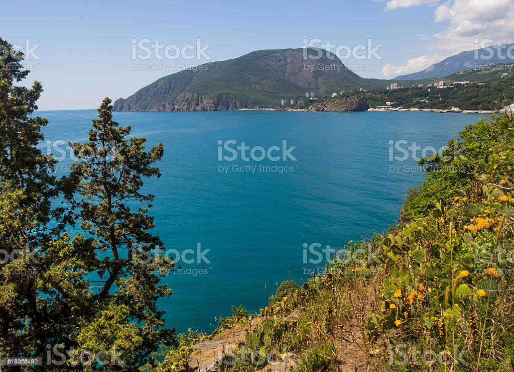 View of Mount Ayu-Dag from cape Plaka Crimea stock photo
