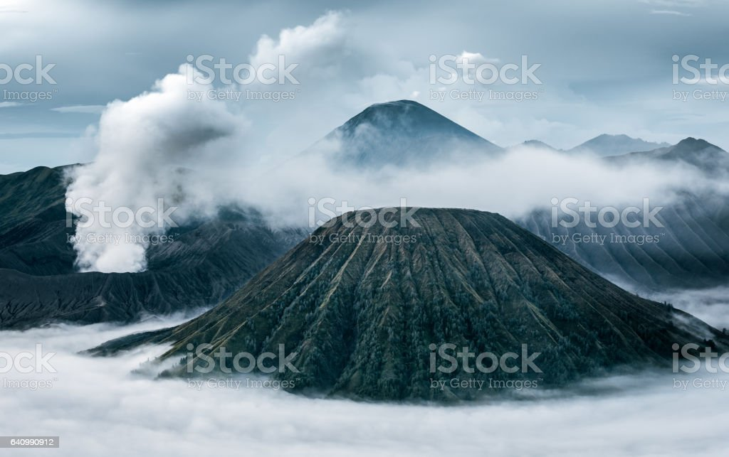 view of Mount Bromo in the cloud stock photo