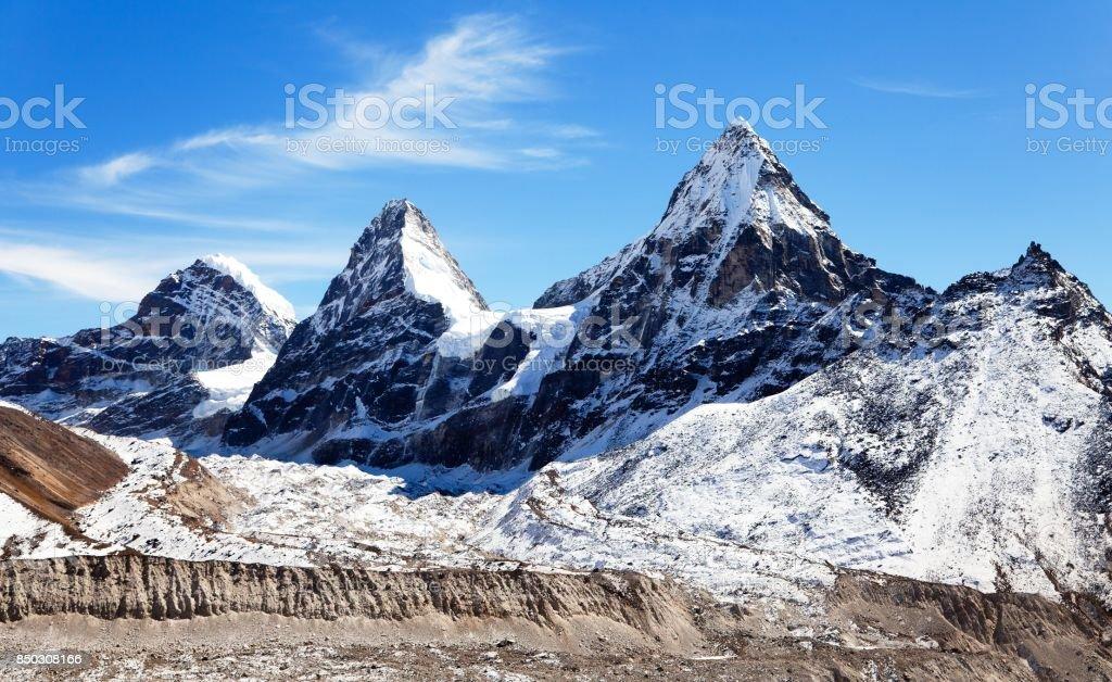 View of mount Cholo, Kangchung peak and Nirekha peak stock photo
