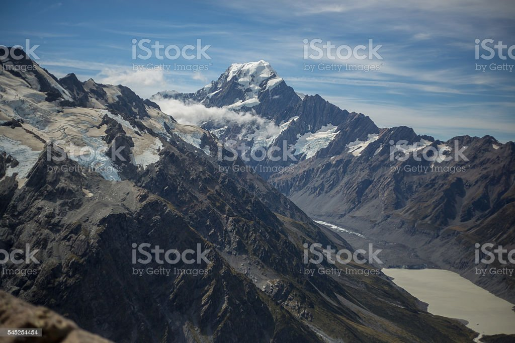 View of Mount Cook in summer daylight, New Zealand stock photo