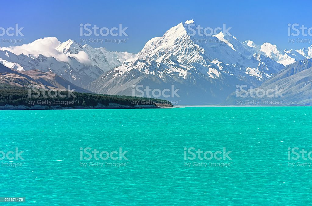 View of Mount Cook over Pukaki Lake, New Zealand stock photo