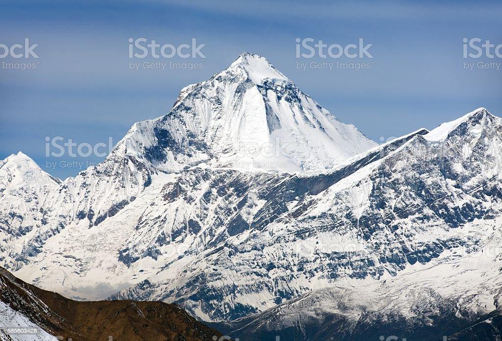 View of mount Dhaulagiri from Thorung La pass stock photo
