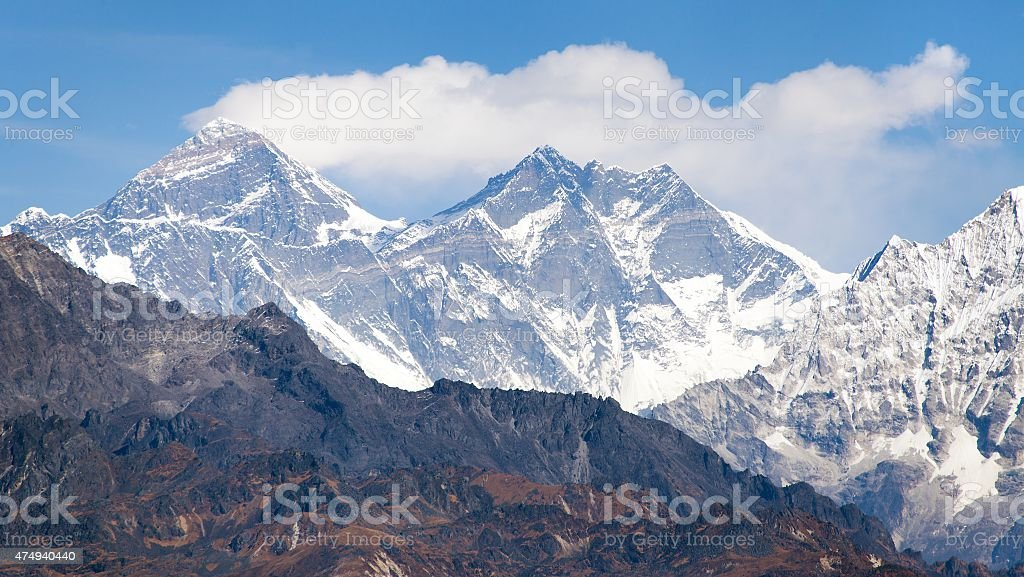 View of Mount Everest from Pikey peak - Nepal stock photo