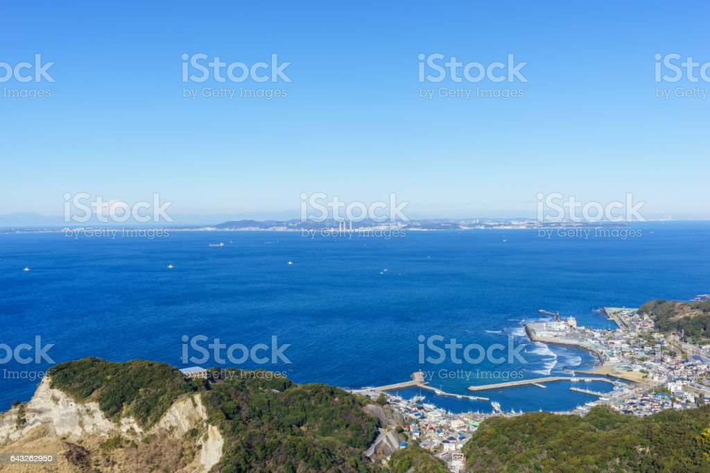 View of Mount Fuji from Mount Nokogiri, Chiba stock photo