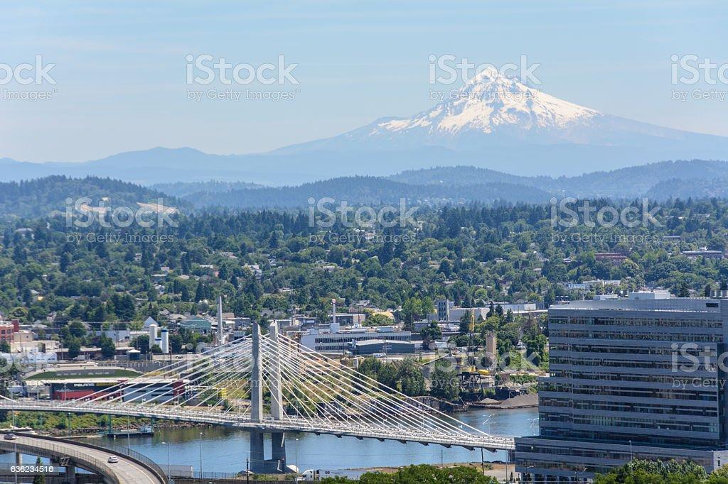 View of Mount Hood in Portland, Oregon USA stock photo