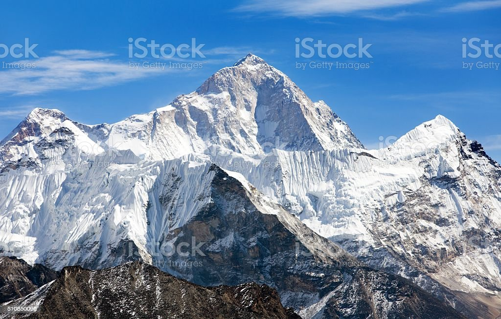 View of mount Makalu (8463 m) from Kongma La pass stock photo