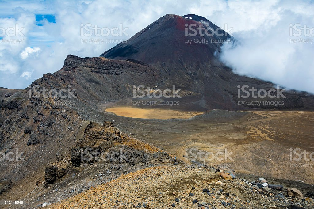 View of Mount Ngauruhoe and the South Crater stock photo