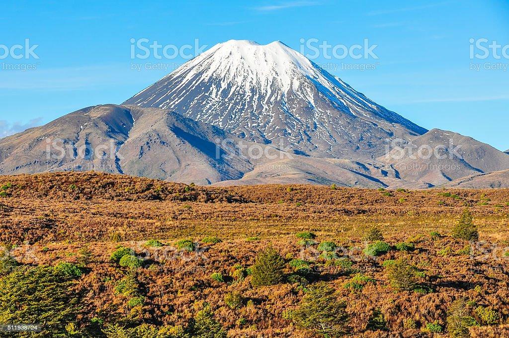View of Mount Ngauruhoe, Tongariro National Park, New Zealand stock photo