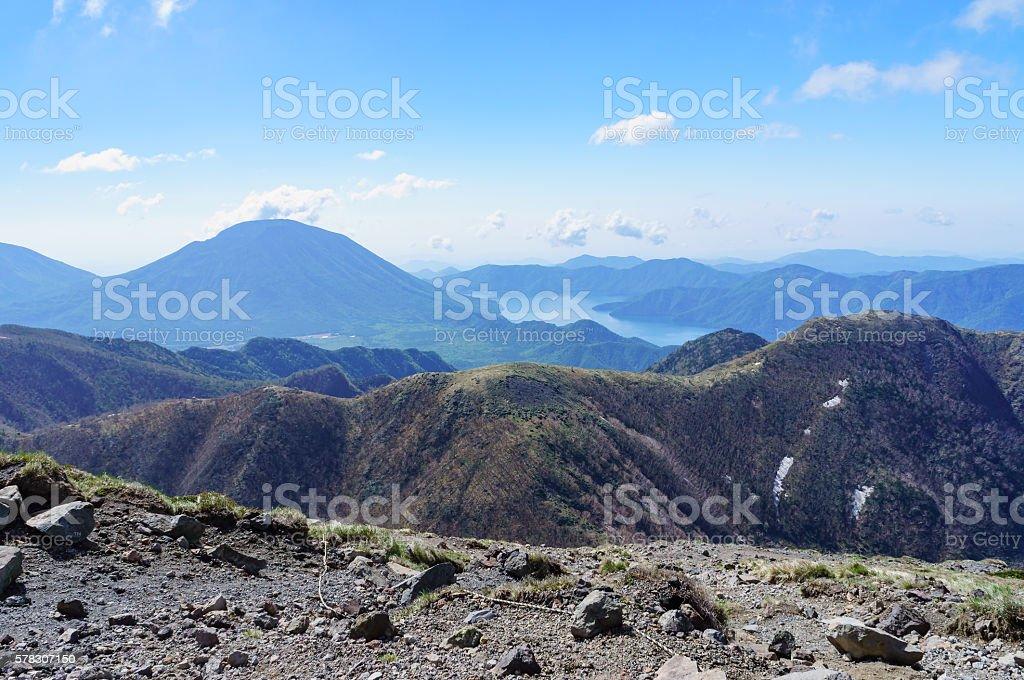 View of Mount Nikko Nantai and Lake Chuzenji stock photo