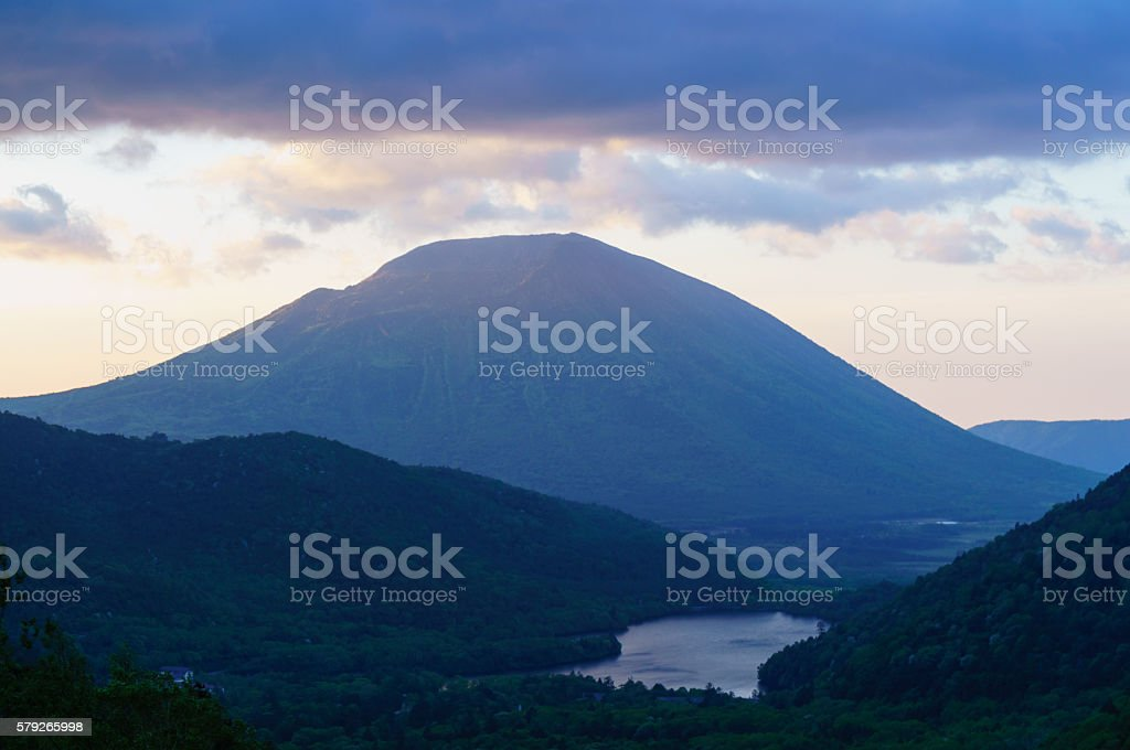 View of Mount Nikko Nantai and Lake Yunoko stock photo