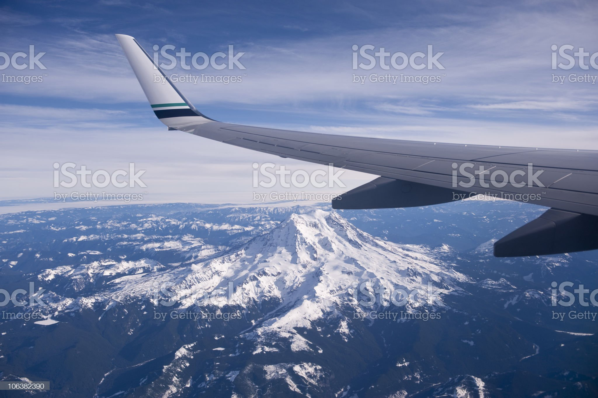 View of Mount Rainer from an airplane window royalty-free stock photo