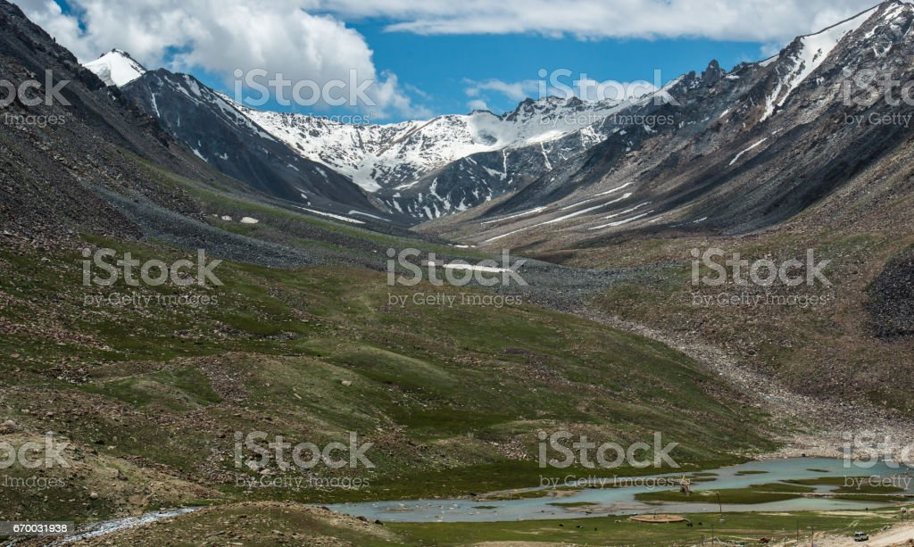 View of Mountain Range Landscape, Leh Ladakh , India stock photo