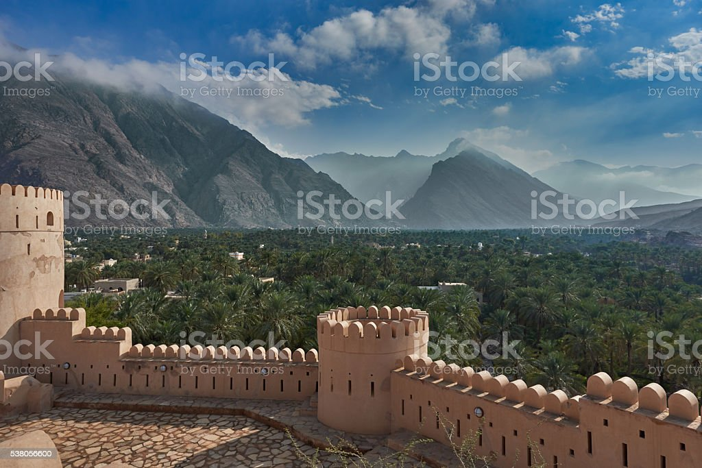 View of  mountains and date palms stock photo