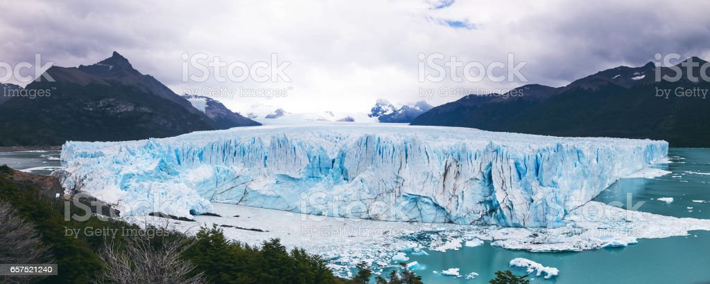 View of mountains and glaciers (Panorama), Patagonia stock photo