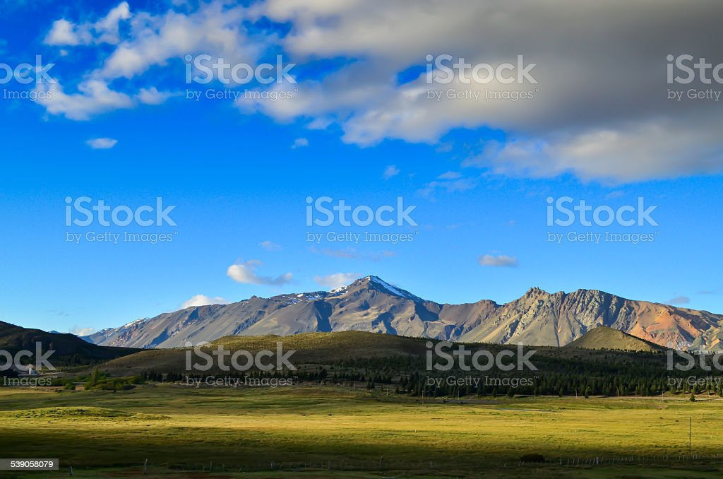 View of mountains and meadows in Patagonia argentina stock photo