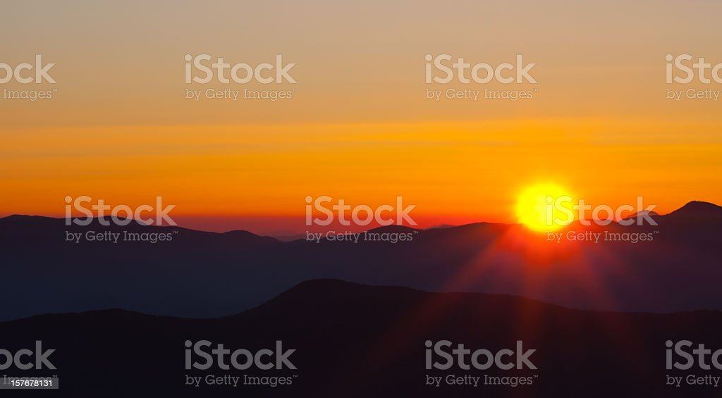 View of mountains and the sunset stock photo