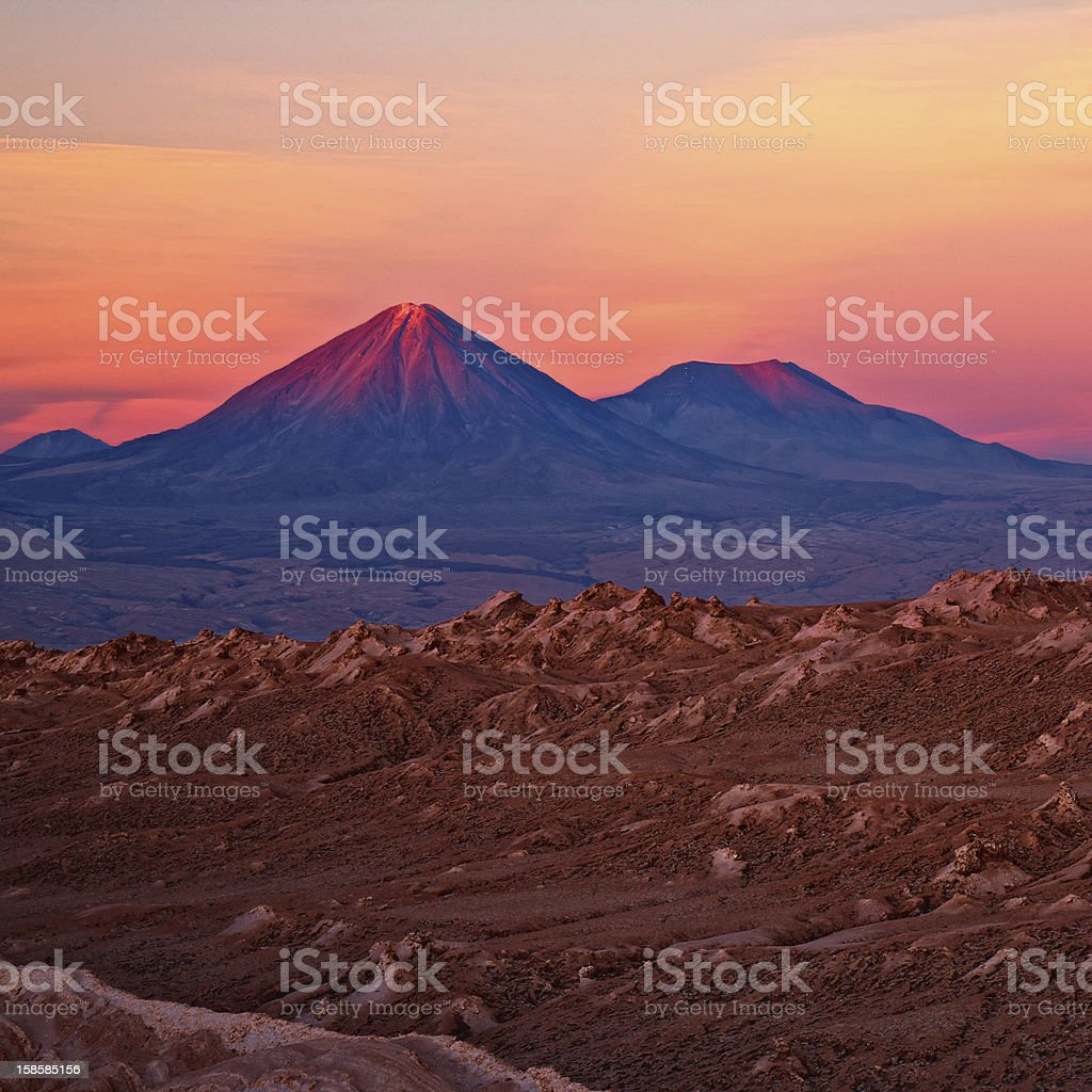 View of mountains during sunset stock photo