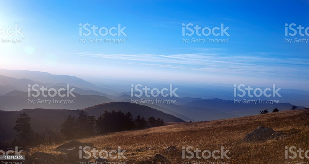 View of mountains in southwest Virginia in Jefferson National Forest. stock photo