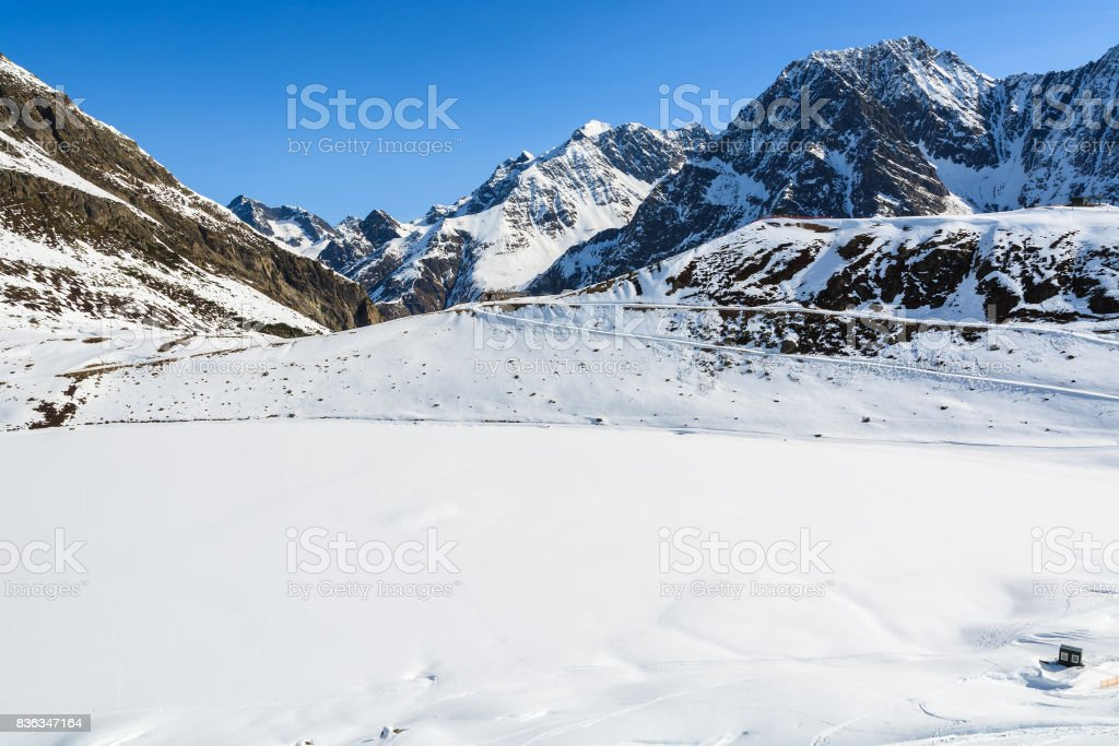 View of mountains in winter skiing resort of Riffelsee in Pitztal valley, Austrian Alps stock photo