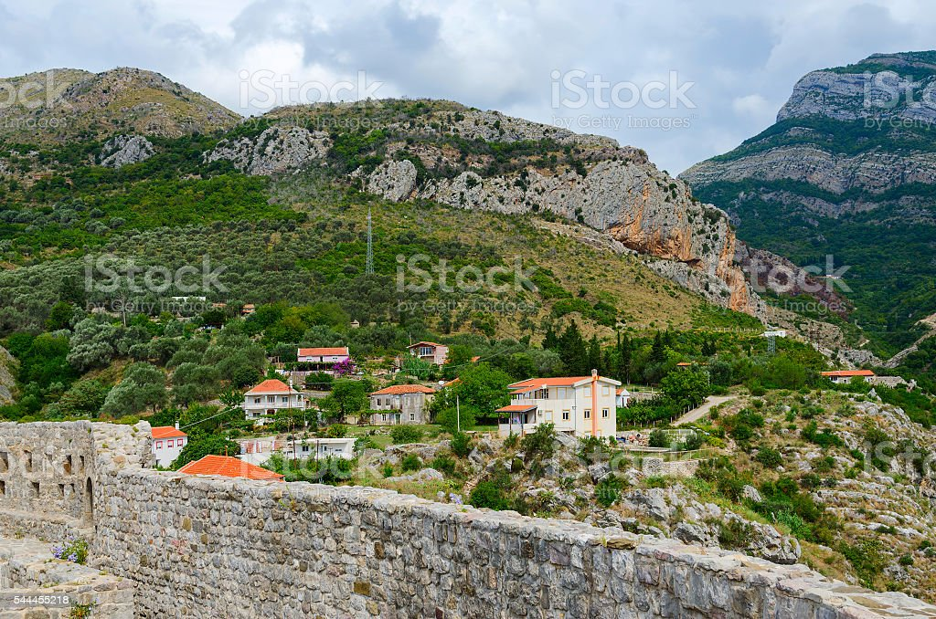 View of mountains near Bar from fortress walls, Montenegro stock photo