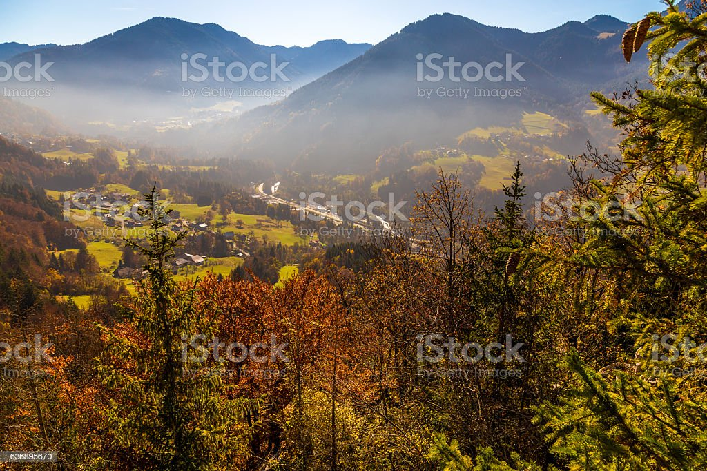View of mountians and a valley stock photo