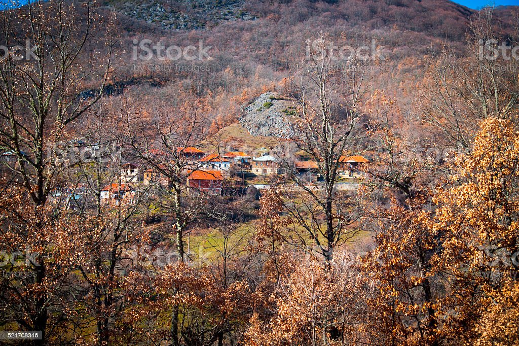 View of mountin willage at autumn royalty-free stock photo