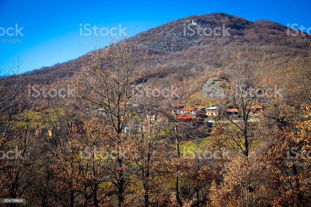 View of mountin willage at autumn stock photo