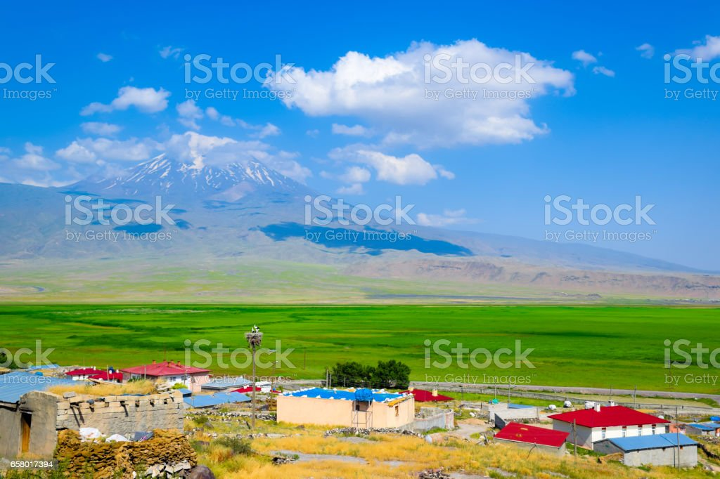 View of Mt. Ararat with small village and grass field stock photo