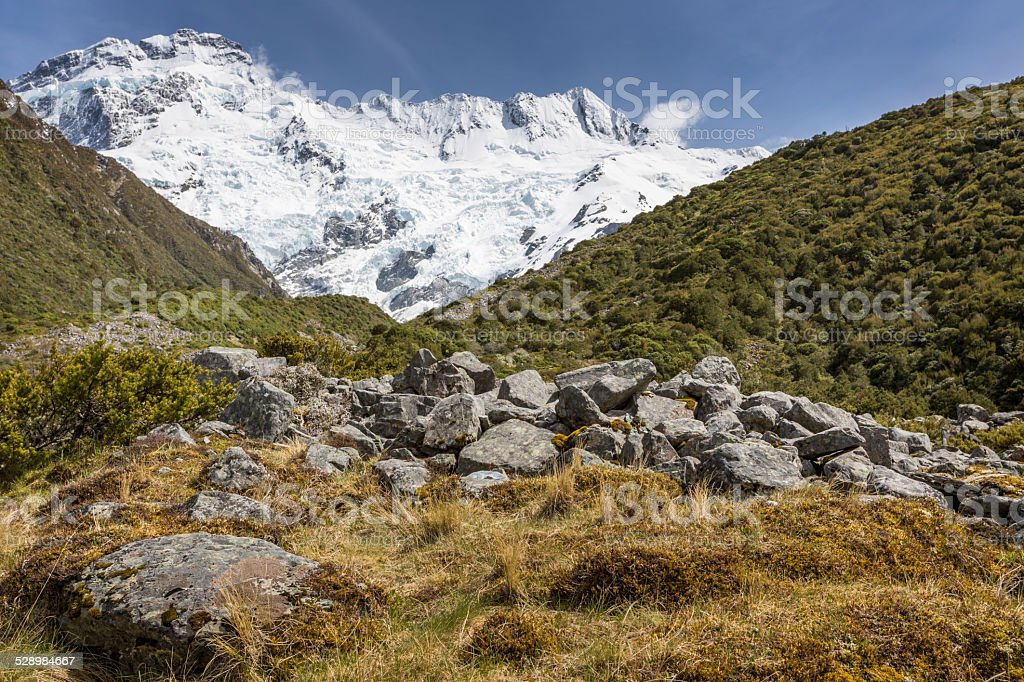View of Mt Cook National Park, New Zealand. stock photo