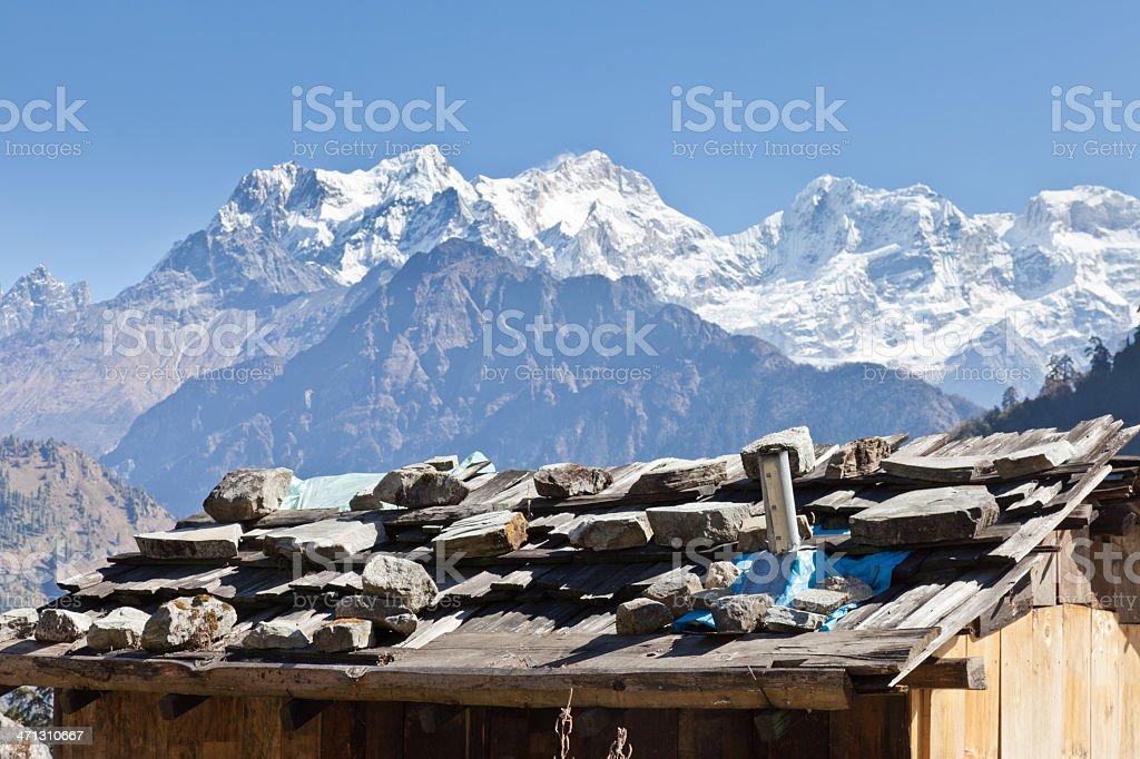 View of Mt. Manaslu, Nepal stock photo