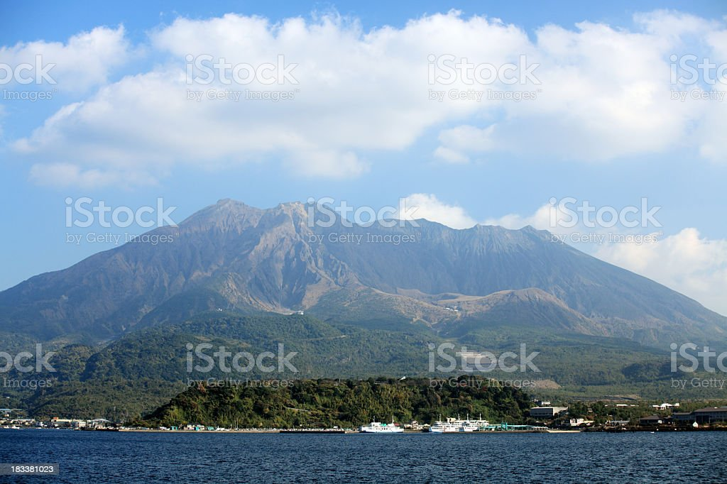 Blick auf den Mount Sakurajima Lizenzfreies stock-foto