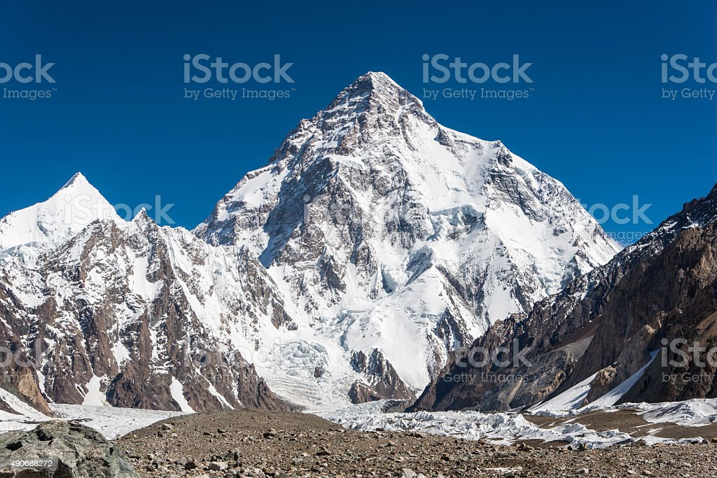 View of Mt.K2 from Concordia stock photo