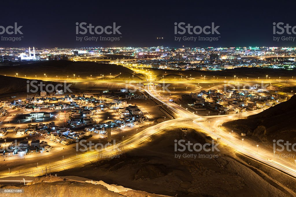 View of Muscat at night stock photo