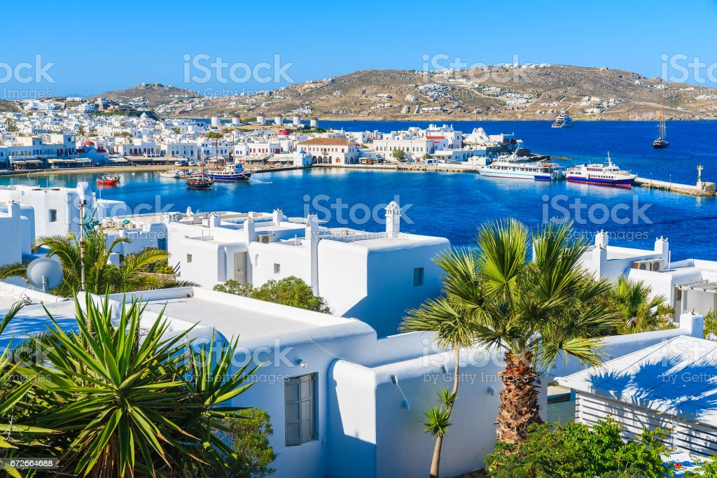 A view of Mykonos port and town, island of Mykonos, Cyclades, Greece stock photo